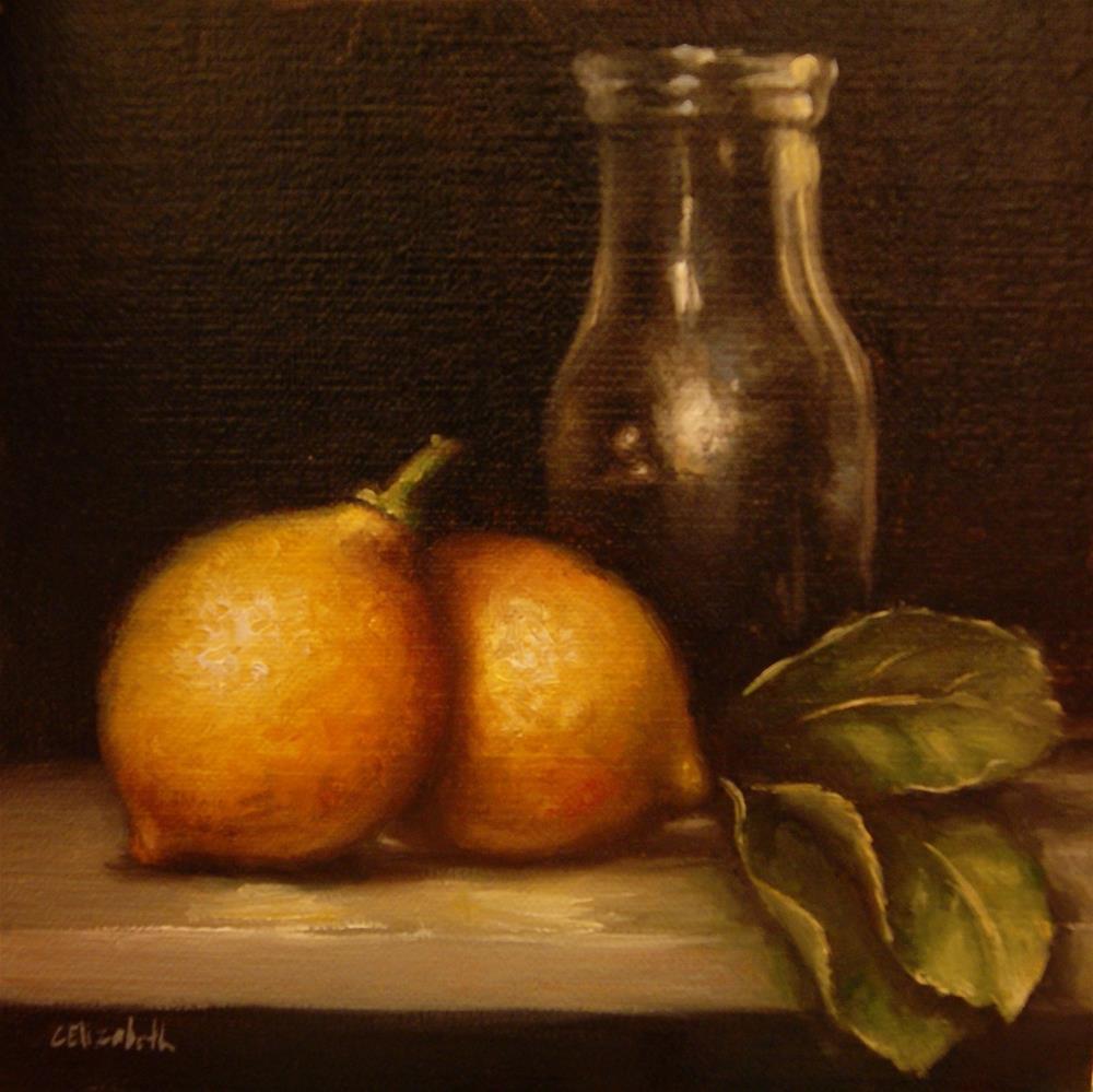 """Lemons and Bottle,  Oil on 6x6 Linen Panel"" original fine art by Carolina Elizabeth"