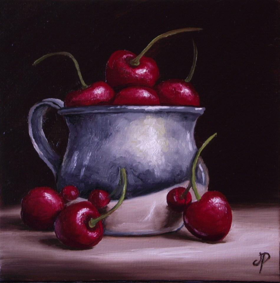 """silver Cherry cup"" original fine art by Jane Palmer"