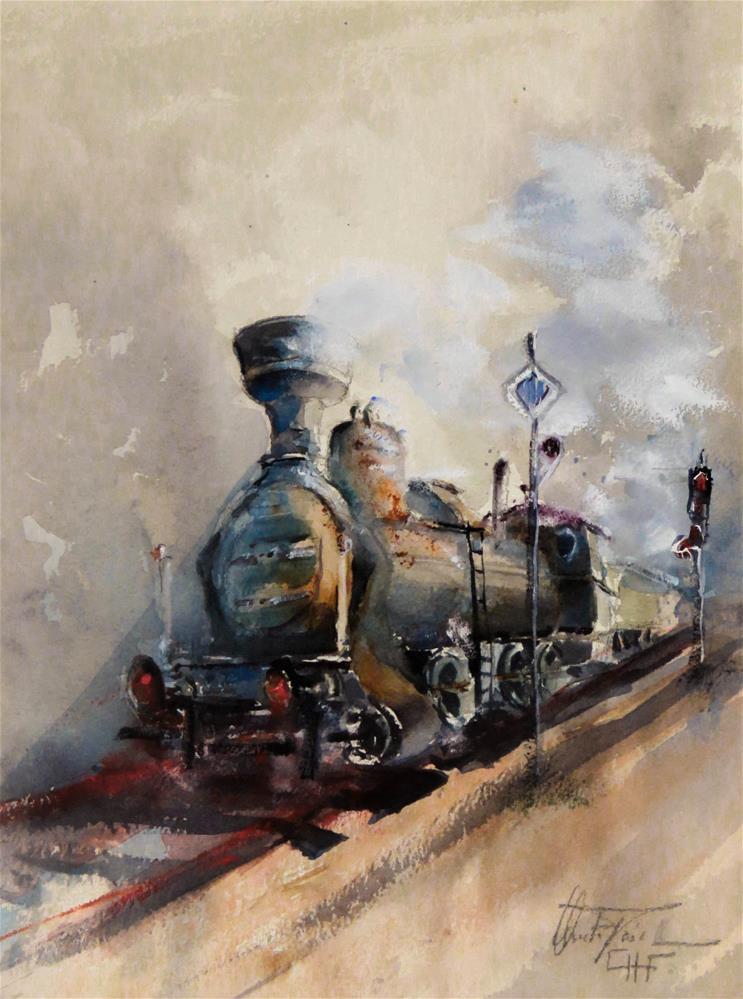 """Old Steam Engine"" original fine art by Christa Friedl"