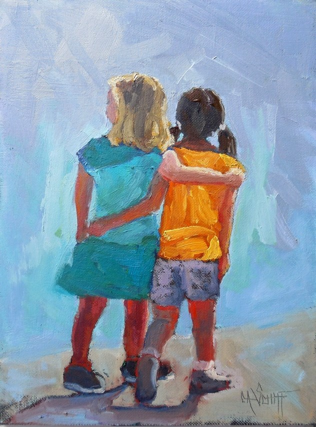 """Daily Painting, Small Oil Painting, Figurative Painting, Best Friends by Carol Schiff, 6x8 Oil"" original fine art by Carol Schiff"