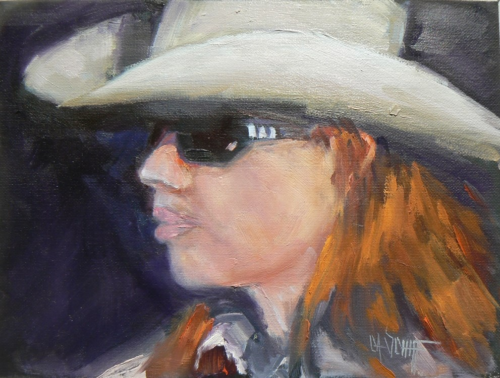 """Cowgirl Portrait, Daily Painting, Small Oil Painting, Redheaded Cowgirl, 6x8 Oil"" original fine art by Carol Schiff"