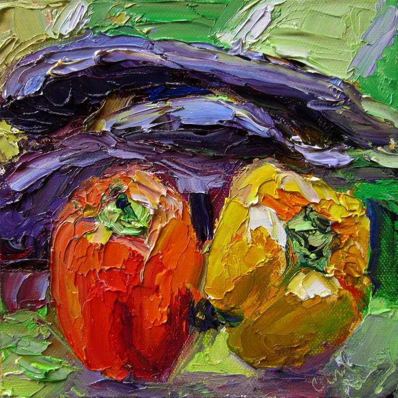 """Red. Yellow Peppers, Eggplant"" original fine art by Carol Steinberg"