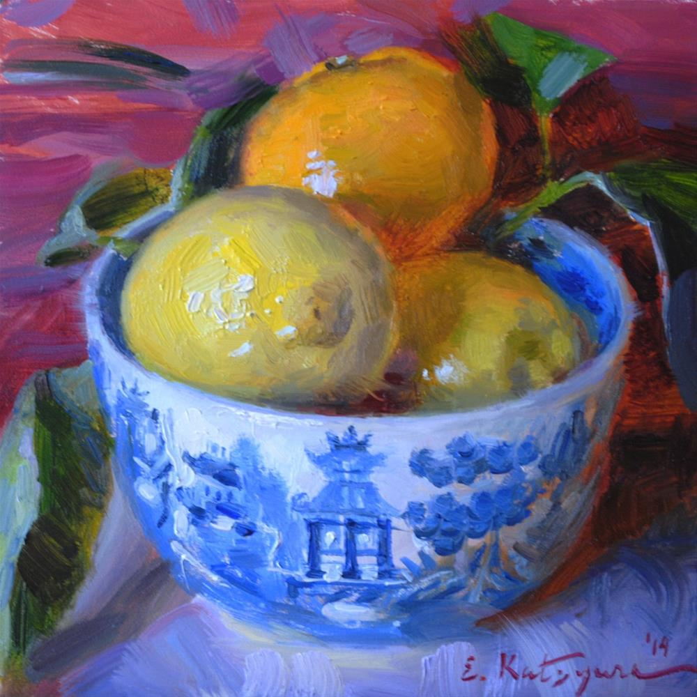 """Bowl of Citrus"" original fine art by Elena Katsyura"