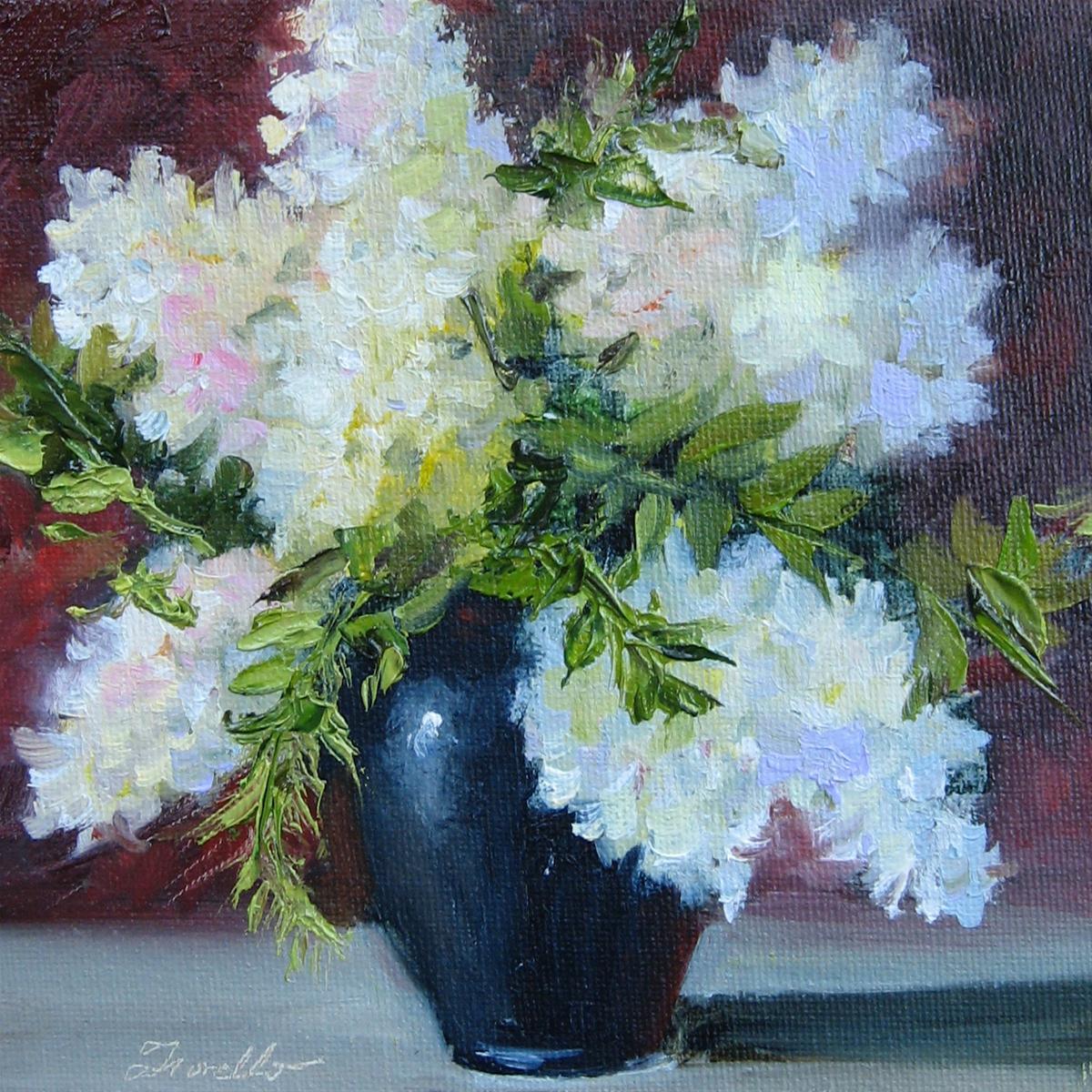 """Flower Study #25 White Hydrangeas"" original fine art by Pat Fiorello"
