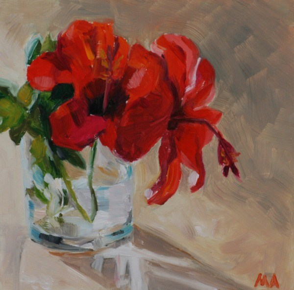 """Red Petals"" original fine art by Aniko Makay"