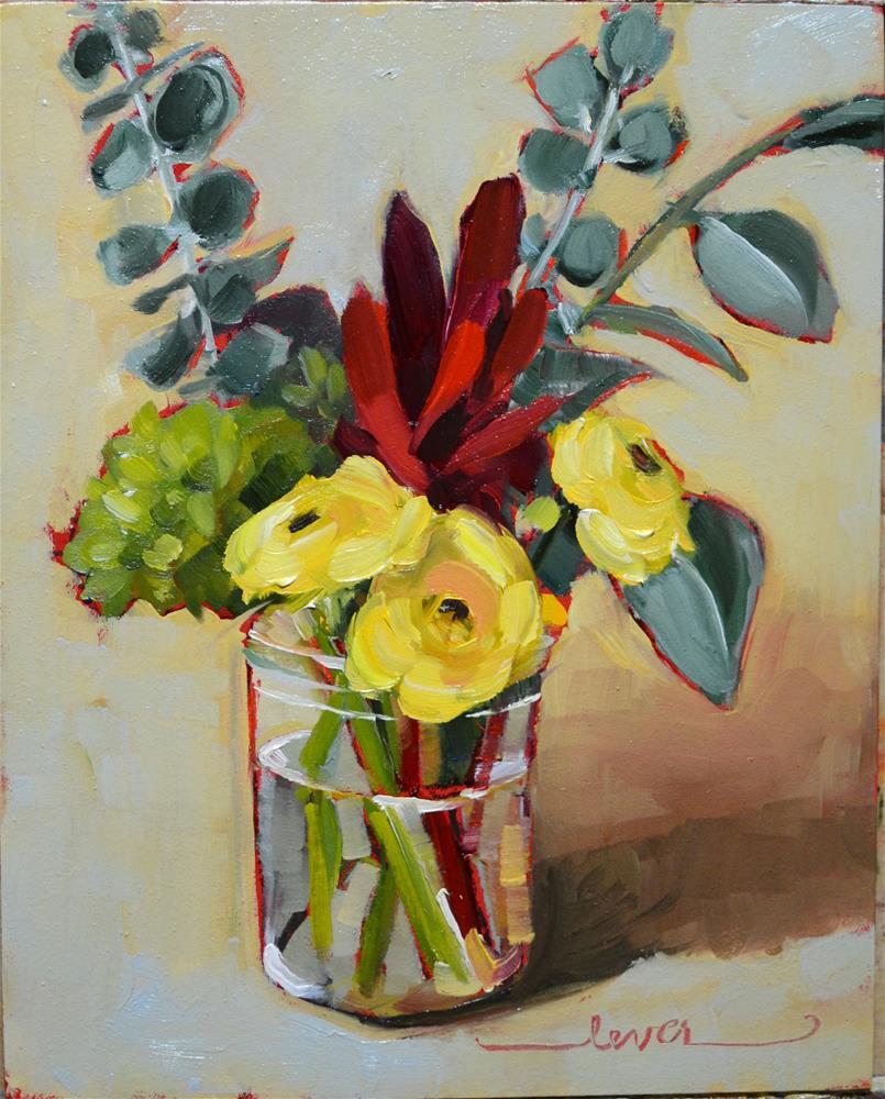 """Three Little Yellows"" original fine art by Martha Lever"
