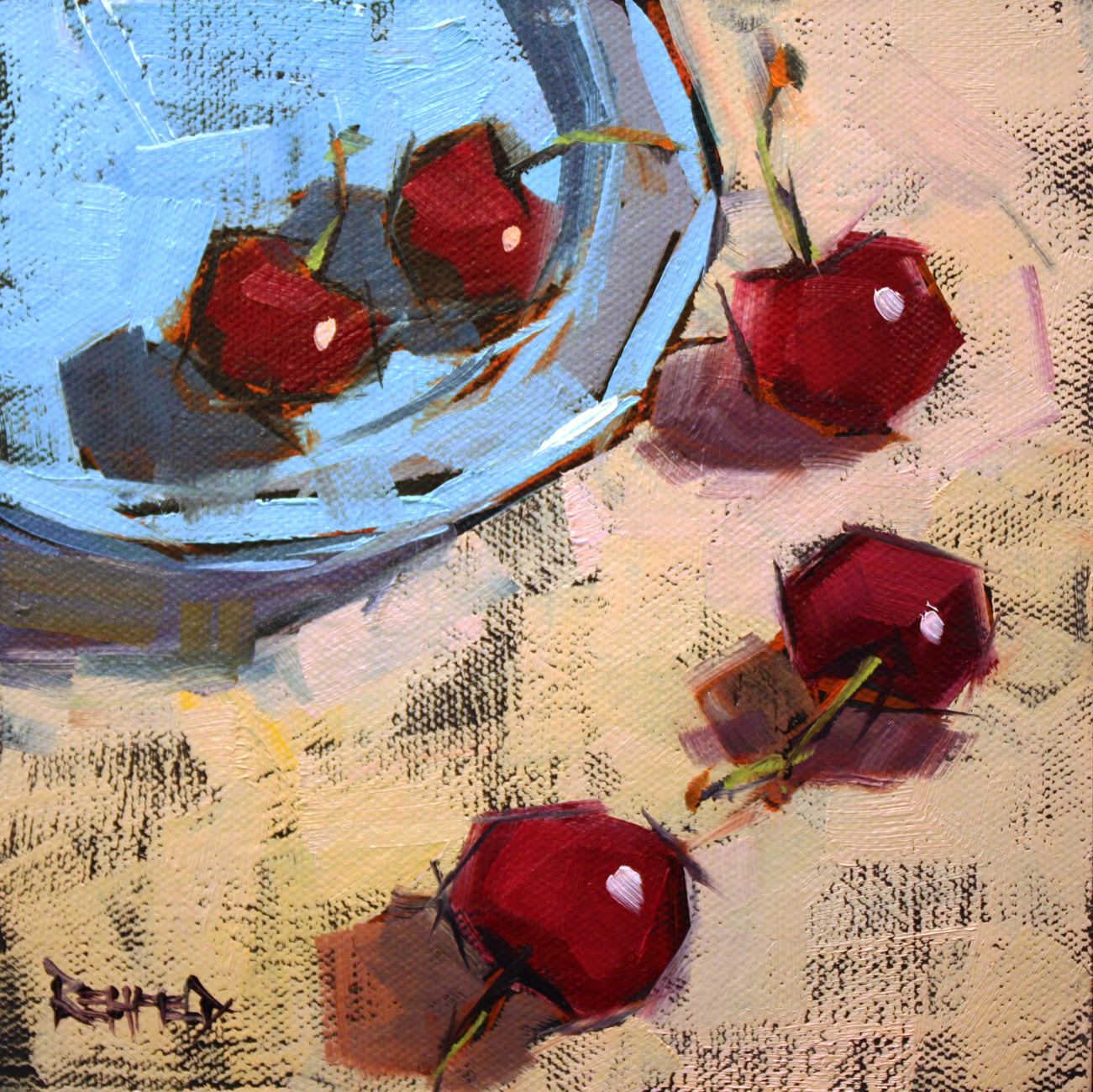 """Let's Just Enjoy These Cherries"" original fine art by Cathleen Rehfeld"