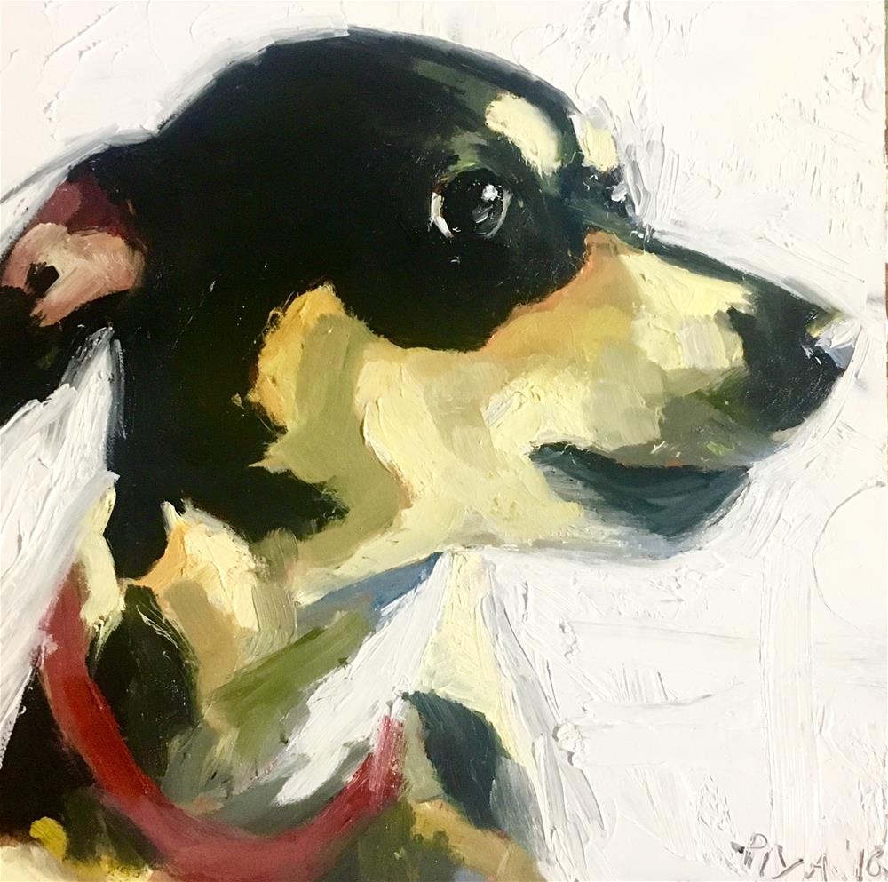 """Christmas pup I"" original fine art by Piya Samant"