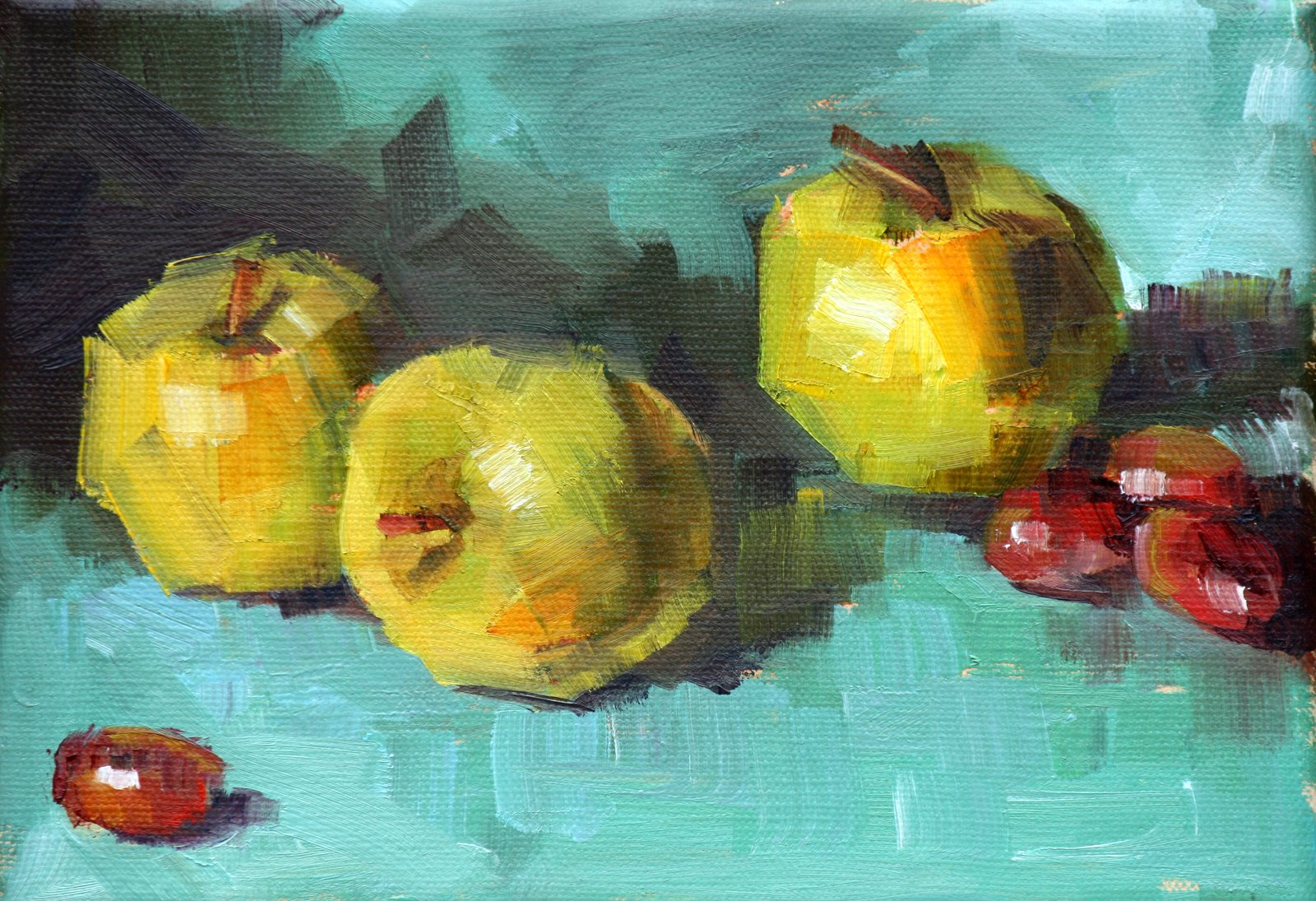 """Apples on blue"" original fine art by Carol Carmichael"