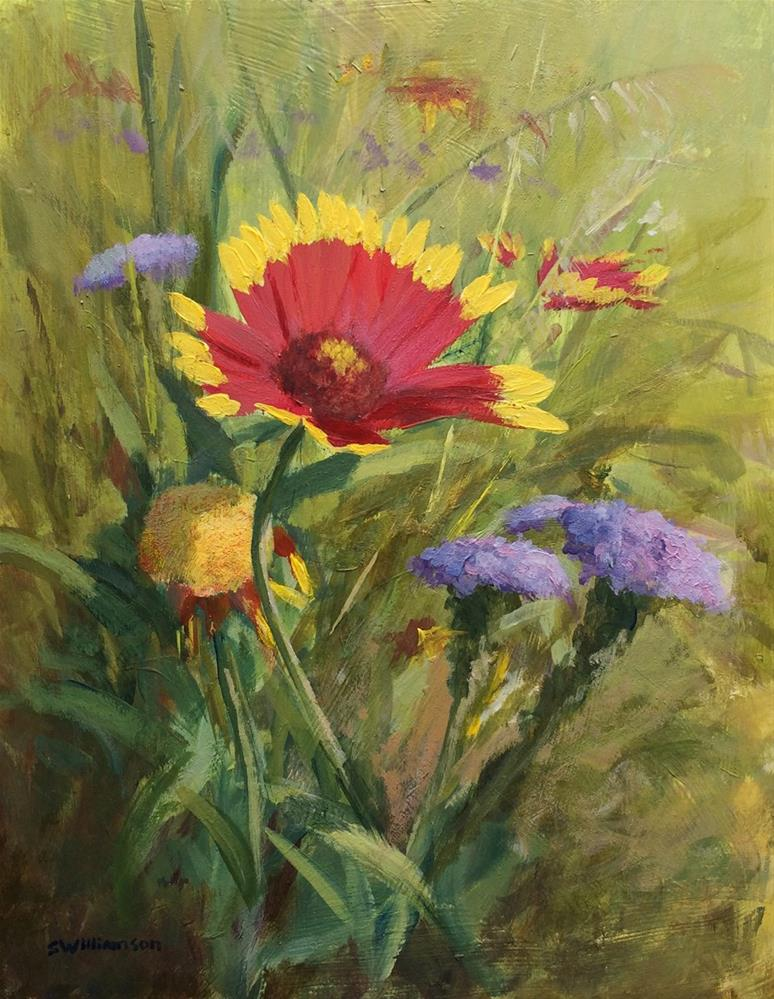 """Wildflowers in Kachina Prarie (On location study)"" original fine art by Stephen Williamson"