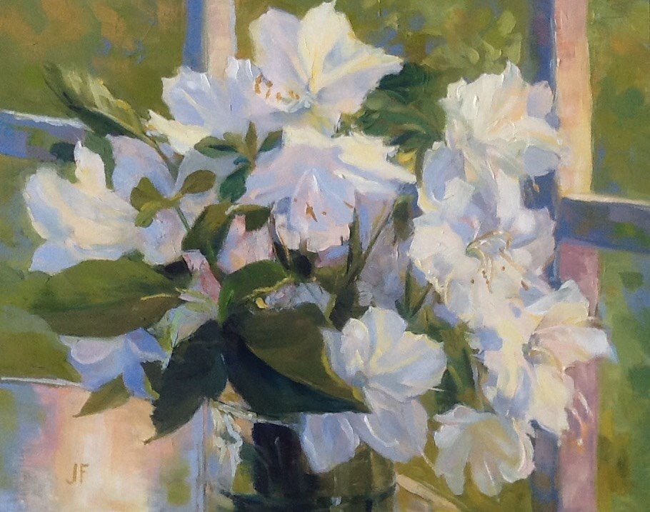 """Azaleas"" original fine art by Jean Fitzgerald"