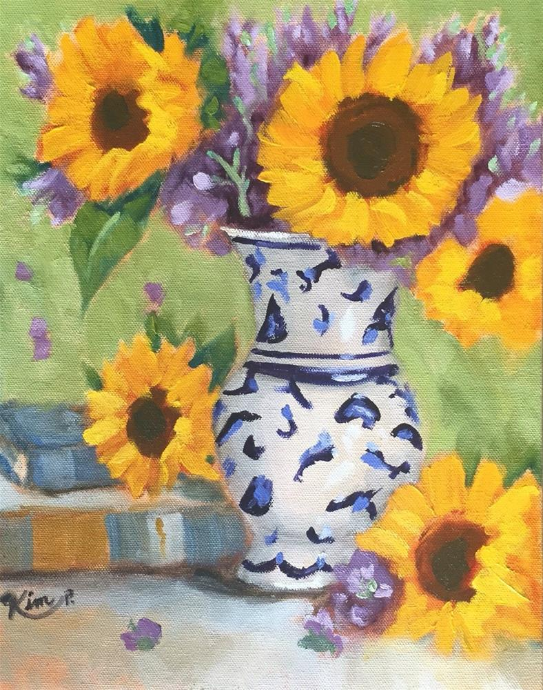 """Still Life with Sunflowers in Blue and White Vase and Books"" original fine art by Kim Peterson"