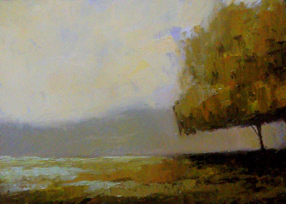 """A Tree and Wet Grass"" original fine art by Bob Kimball"