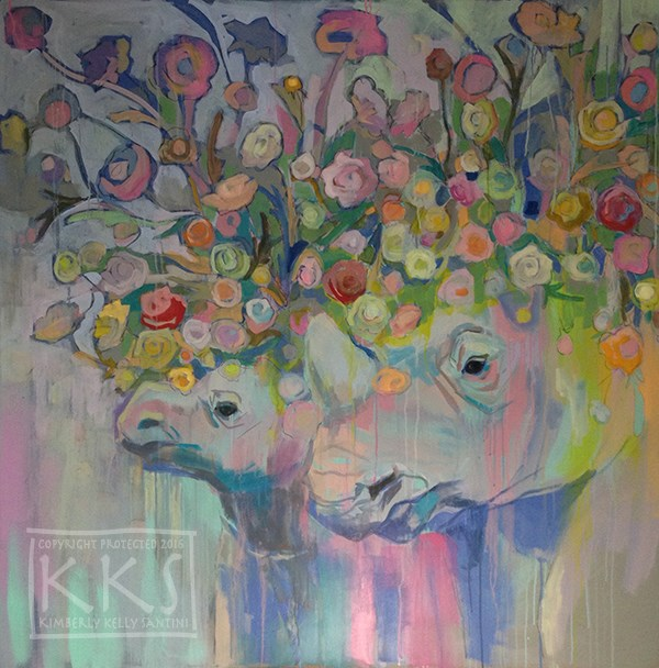 """Rhin-unculus, in process"" original fine art by Kimberly Santini"