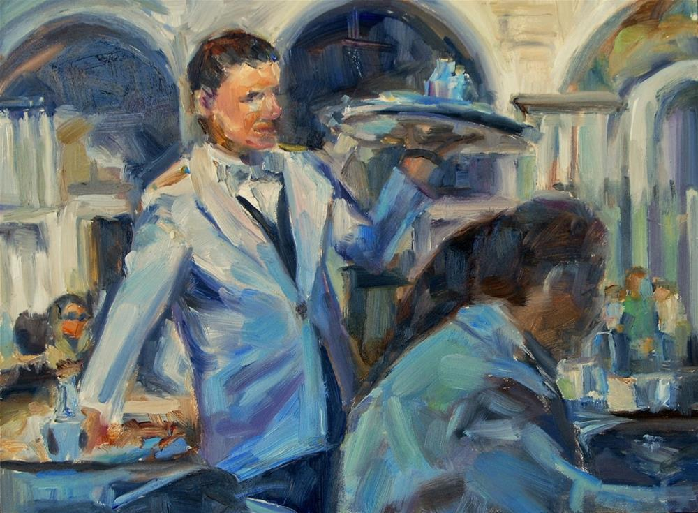 """Waiter in Florence, Italy, Original oil by Carol DeMumbrum"" original fine art by Carol DeMumbrum"