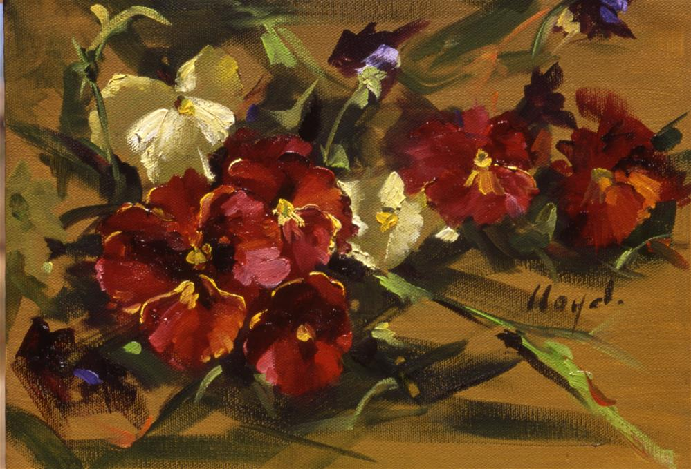 """Red Pansies"" original fine art by Diane Lloyd"