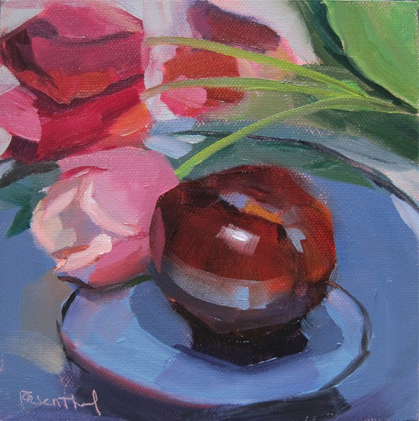 """Plum & Tulips"" original fine art by Robin Rosenthal"