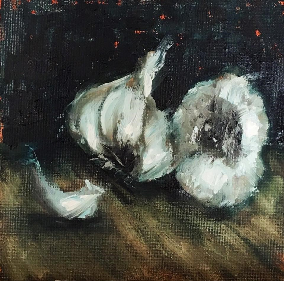 """Garlic Study III"" original fine art by Kaia Thomas"