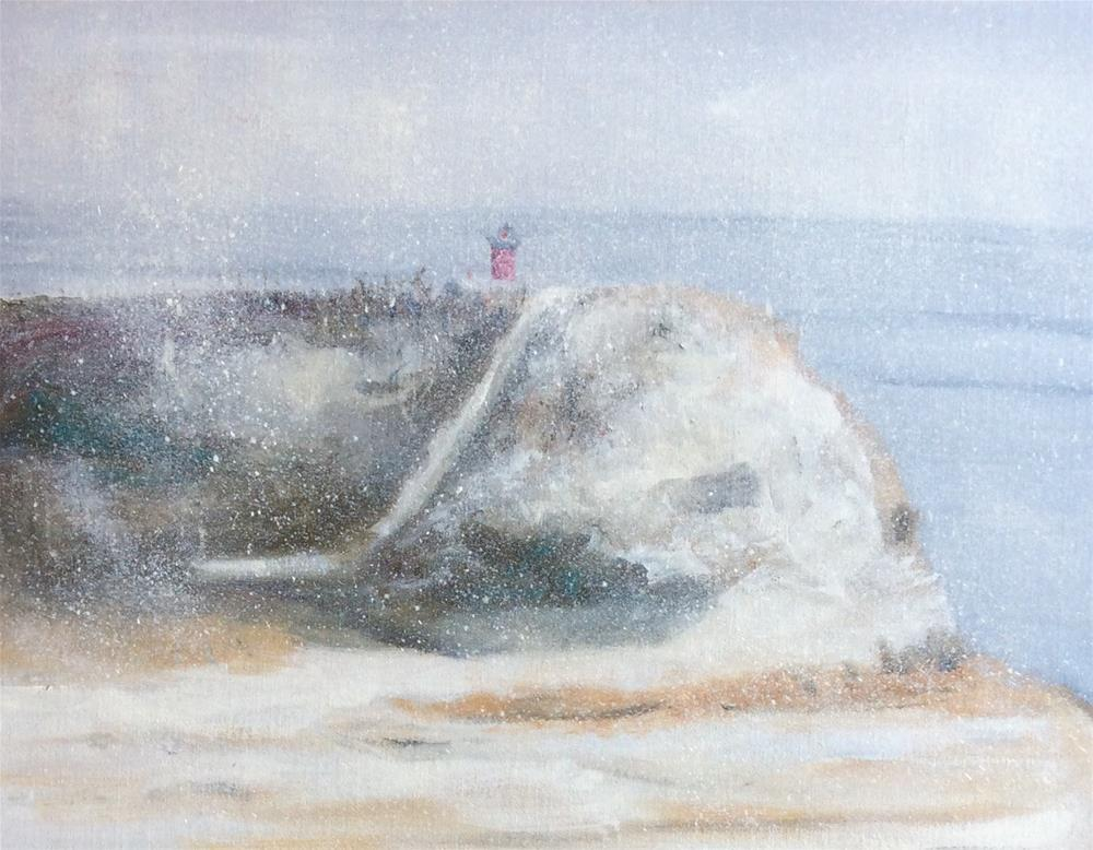 """Snowy Nauset Light (Framed)"" original fine art by Patty Barnes"
