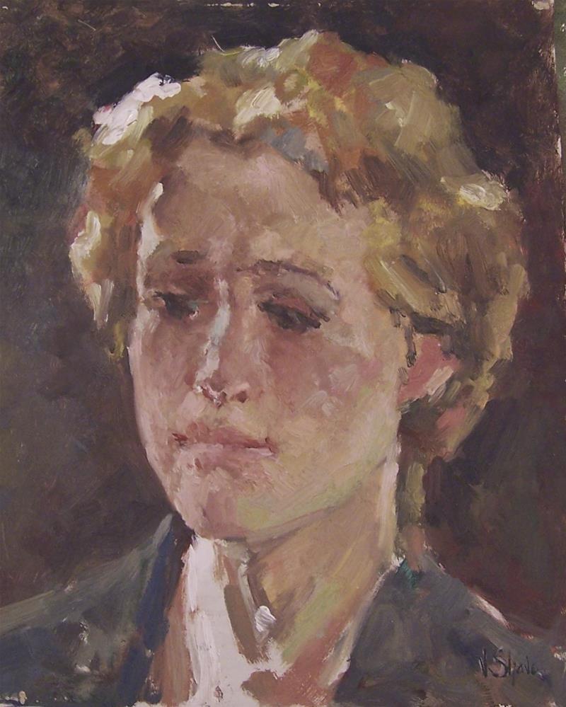 """portrait model"" original fine art by John Shave"
