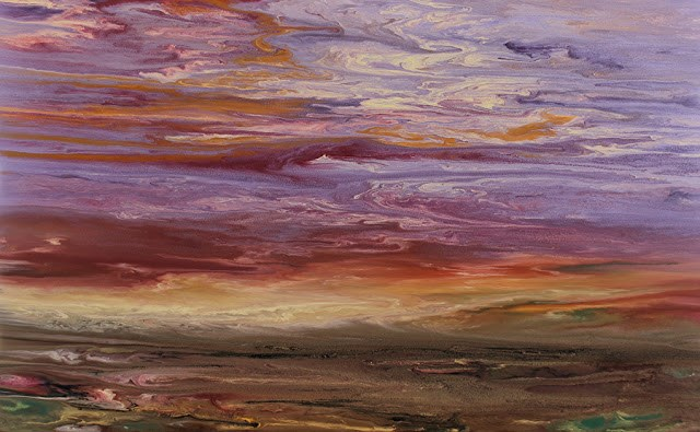 """Abstract Landscape Painting,Fine Art, Sunset  Reflections on the Plains VI by International Contem"" original fine art by Kimberly Conrad"