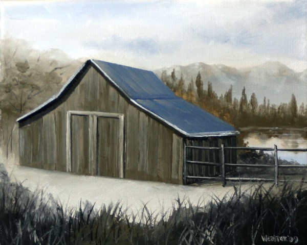 """Mark Webster - Mountain Barn Grayscale Landscape Oil Painting"" original fine art by Mark Webster"