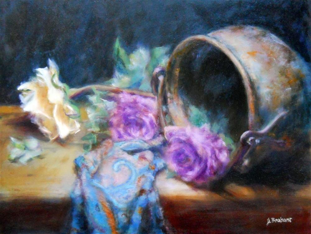 """Yellow Rose with Brass Pot"" original fine art by Jill Brabant"