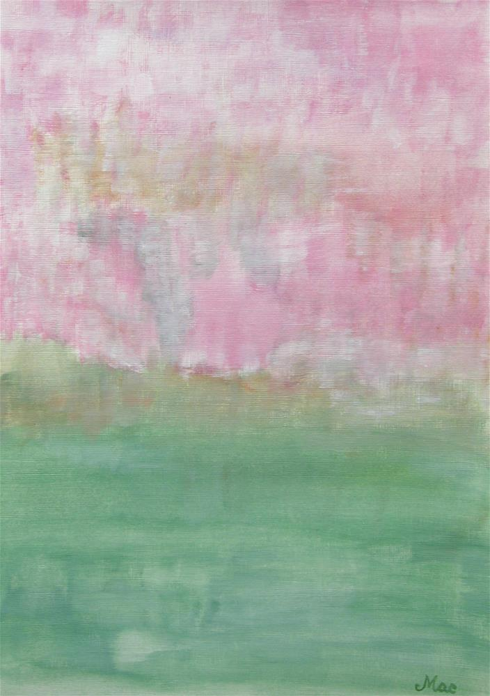 """Pink Green Spring Abstract"" original fine art by Alina Frent"