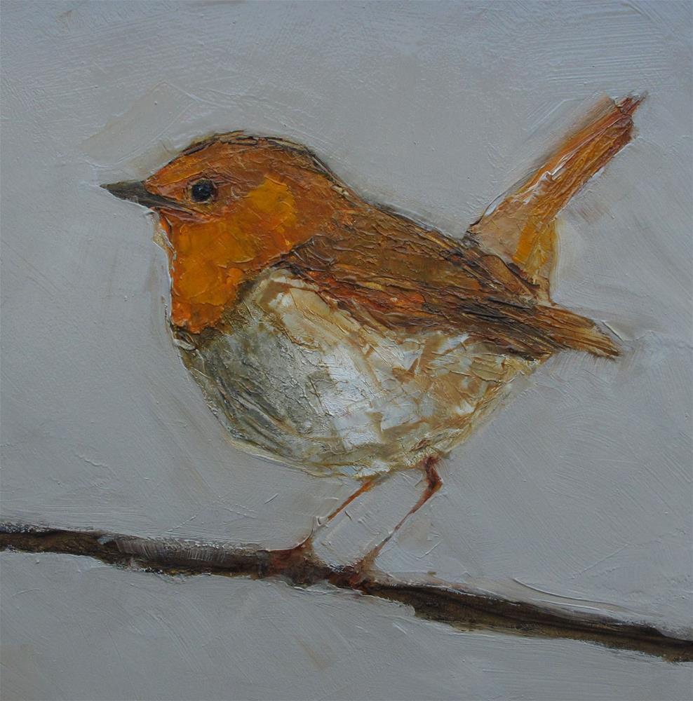"""ROBIN BIRD 6 x 6 Original Art CONTEMPORARY Art Painting OIL"" original fine art by Colette Davis"