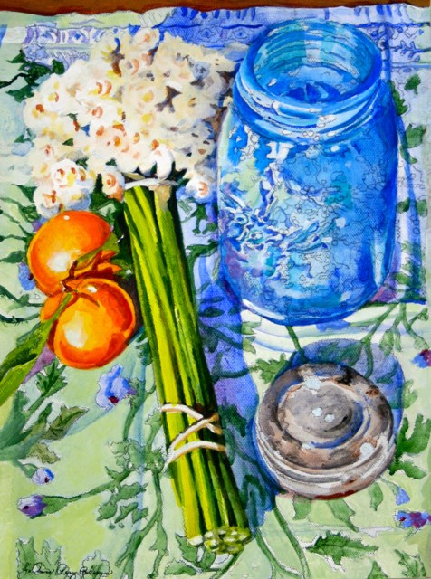 """Blue Jar and Tangerines"" original fine art by JoAnne Perez Robinson"