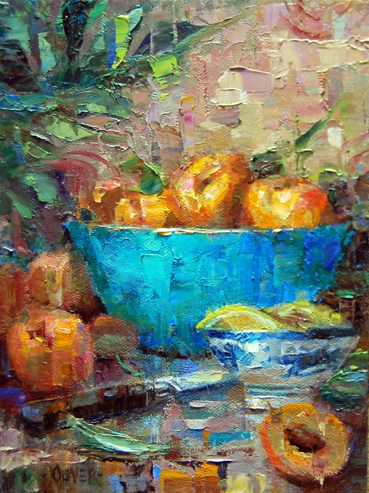 """""""Apricots and Turquoise"""" original fine art by Julie Ford Oliver"""