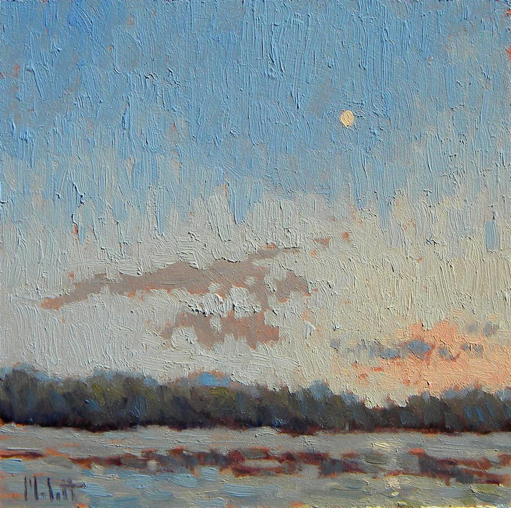 """Twilight Lake Moon Sunset Impressionist Landscape"" original fine art by Heidi Malott"