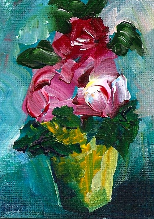 """""""ACEO Roses, Roses, Roses Bouquet of flowers in a glass vase"""" original fine art by Penny Lee StewArt"""