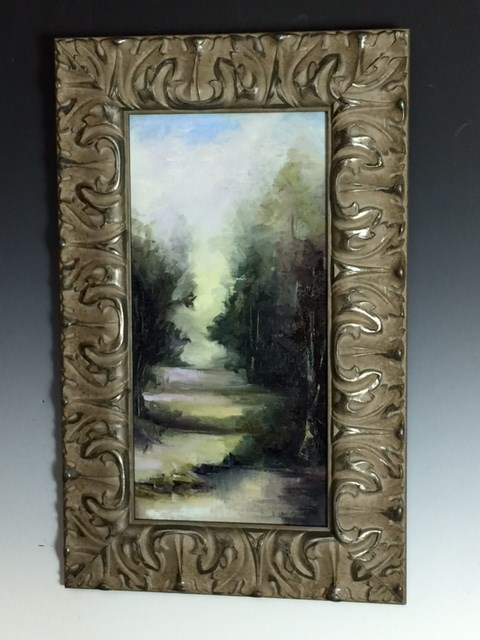 """8 x 16 canvas board custom frame - Titled: Out of the Darkness"" original fine art by Brenda Kollman"