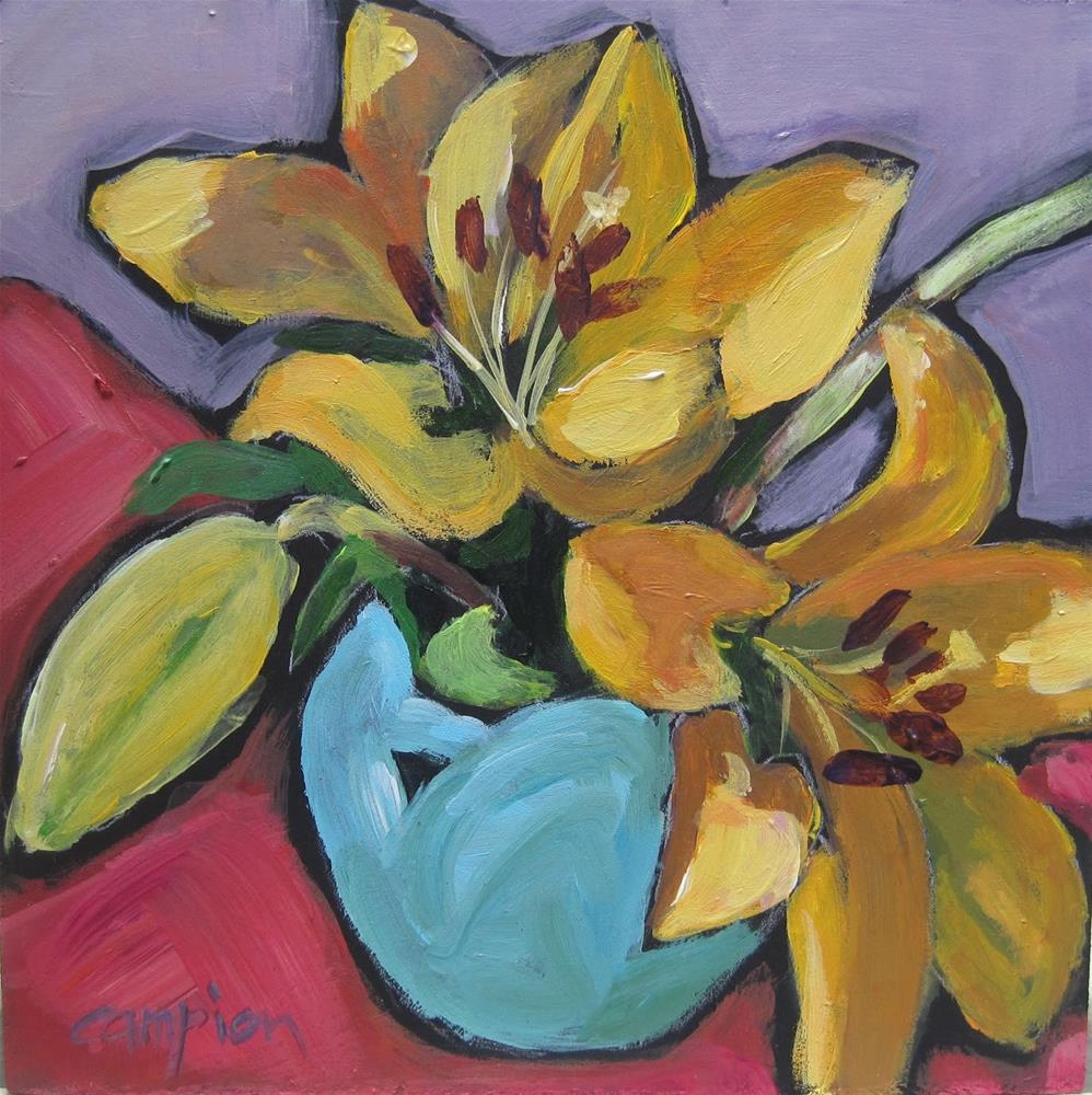 """114 Two Lilies and a Bud in a Van Briggle Vase"" original fine art by Diane Campion"