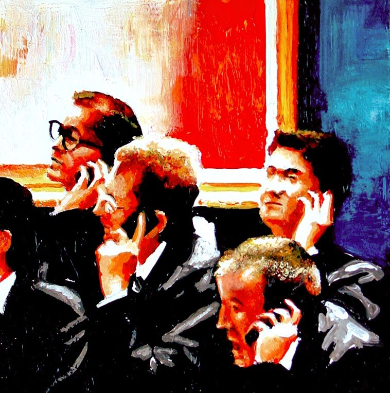 """Telephone Bids 4- Workers Taking Telephone Bids During Evening Auction At Christie's"" original fine art by Gerard Boersma"