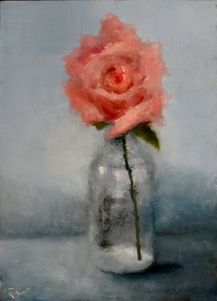 """A Pink Rose"" original fine art by Bob Kimball"