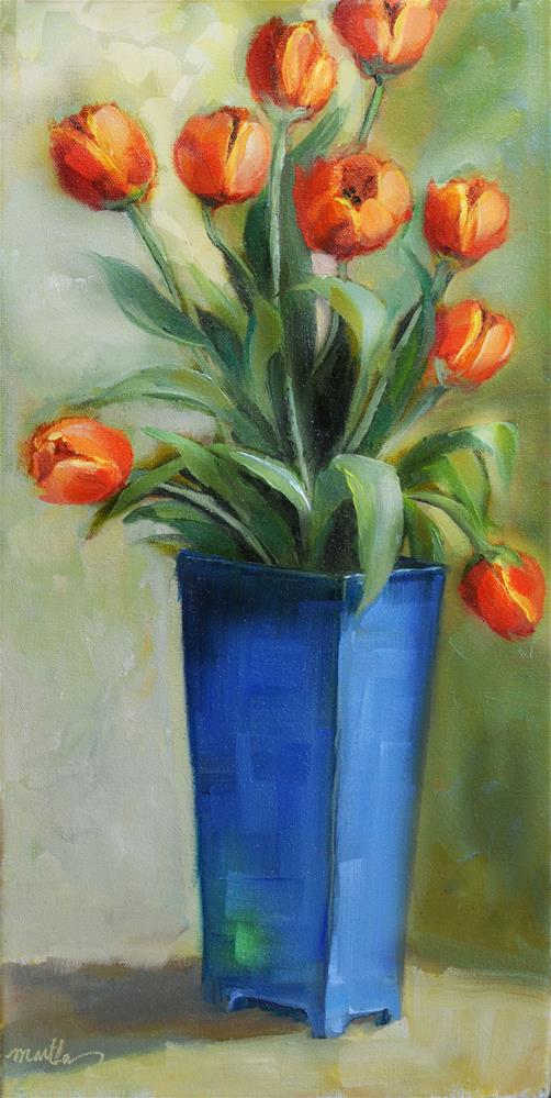 """Tulips in Blue"" original fine art by Martha Lever"