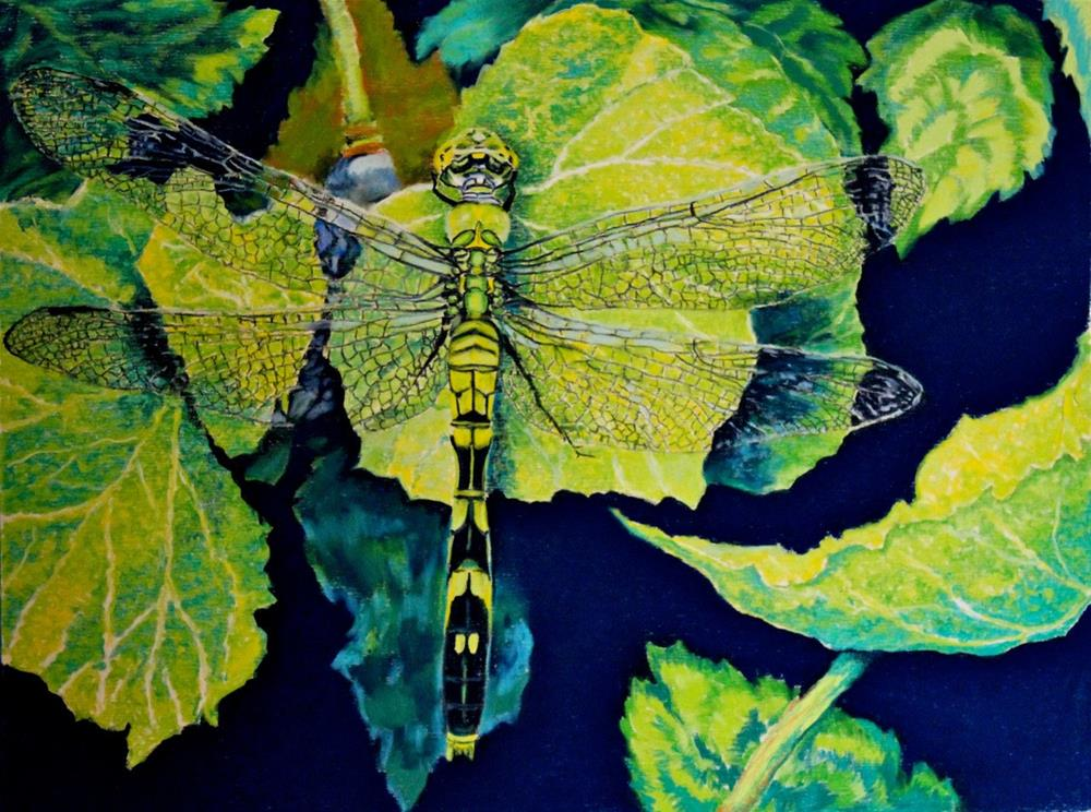 """Green on the Wing"" original fine art by Jill Bates"