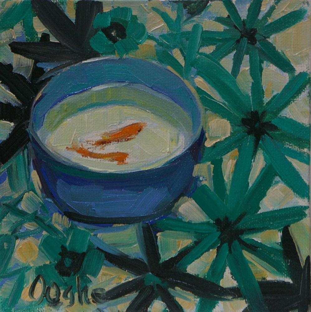 """Goldfish in Blue and White Bowl"" original fine art by Angela Ooghe"