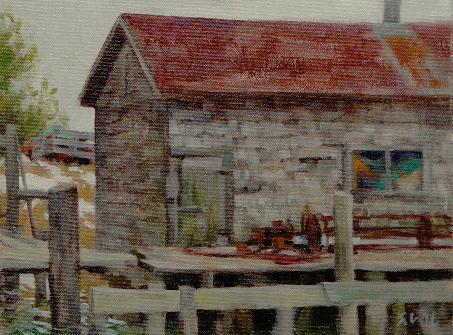 """FishTown's Last Thaw 9x12"" original fine art by Sharon Will"