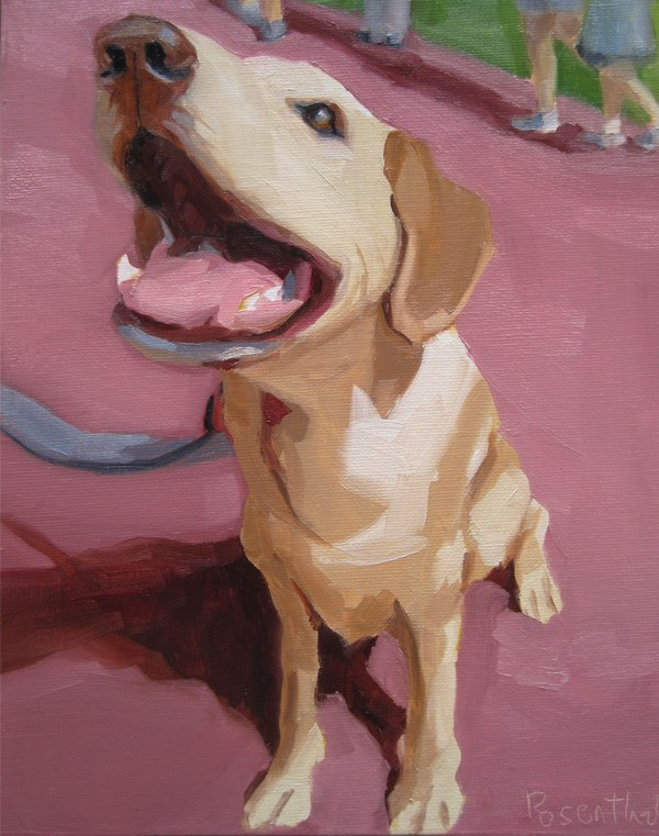 """Pinky the Golden Retriever"" original fine art by Robin Rosenthal"