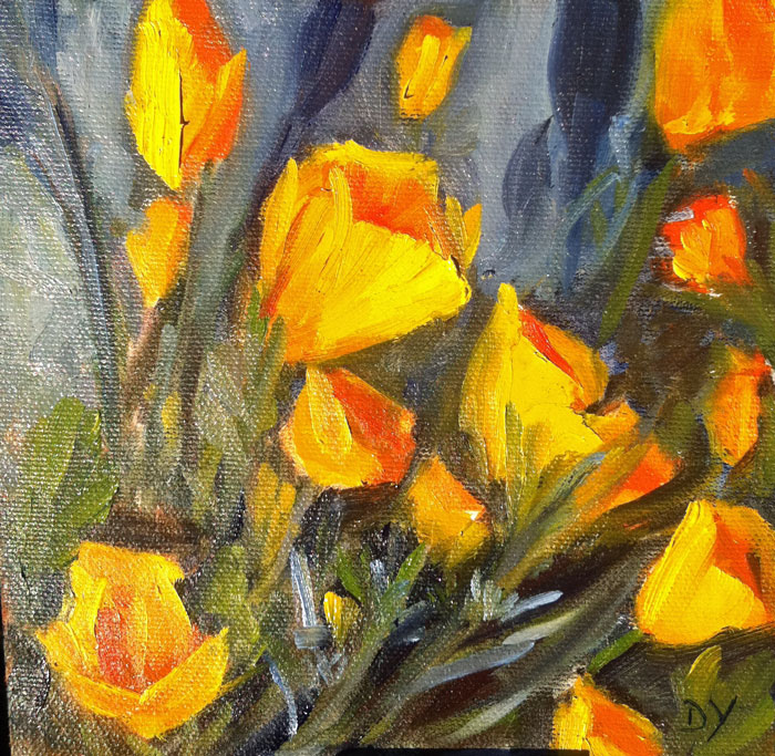 """California Poppies, oil on canvas panel, 6x6in"" original fine art by Darlene Young"