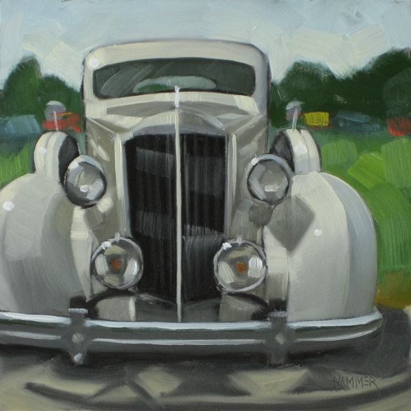 """1936 Packard 6x6 oil"" original fine art by Claudia Hammer"
