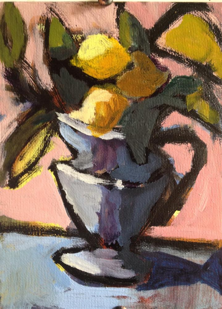 """Lemons and Leaves"" original fine art by Pamela Hoffmeister"