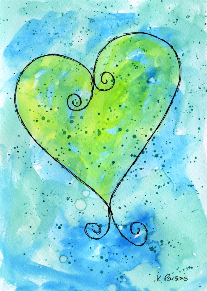 """Blue Green Whimsy Heart"" original fine art by Kali Parsons"