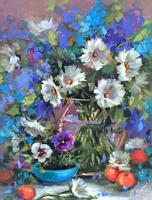 """Eight Days Until Painting Brilliant Colors and Don't Be Blue Daisies"" original fine art by Nancy Medina"