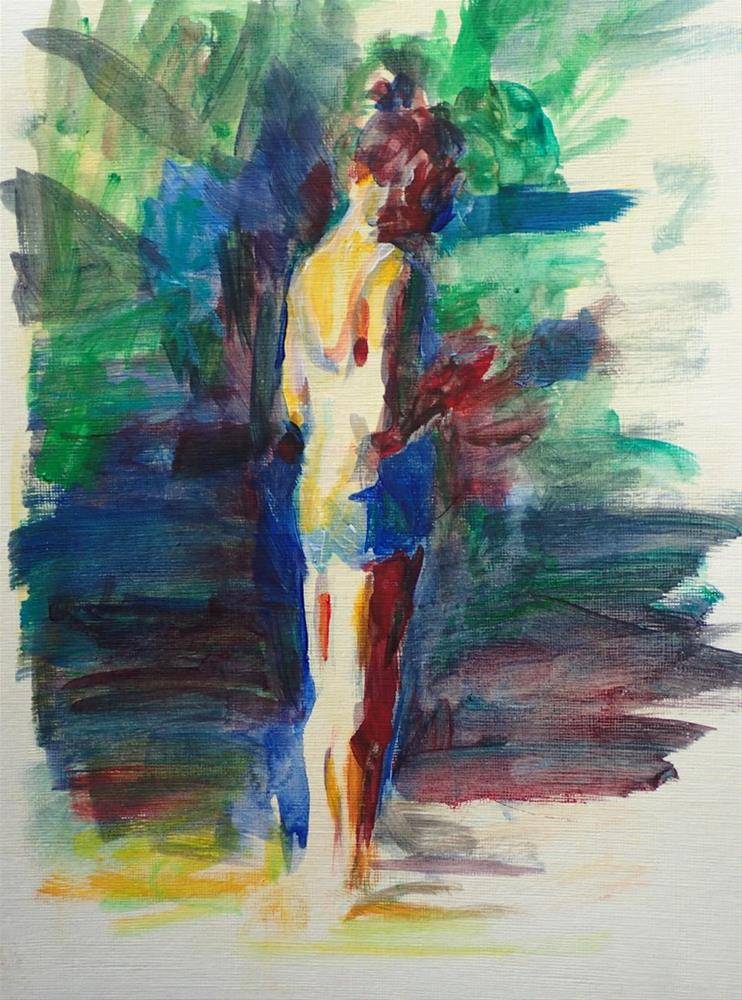 """Figure Standing in the Park"" original fine art by Sharon Savitz"