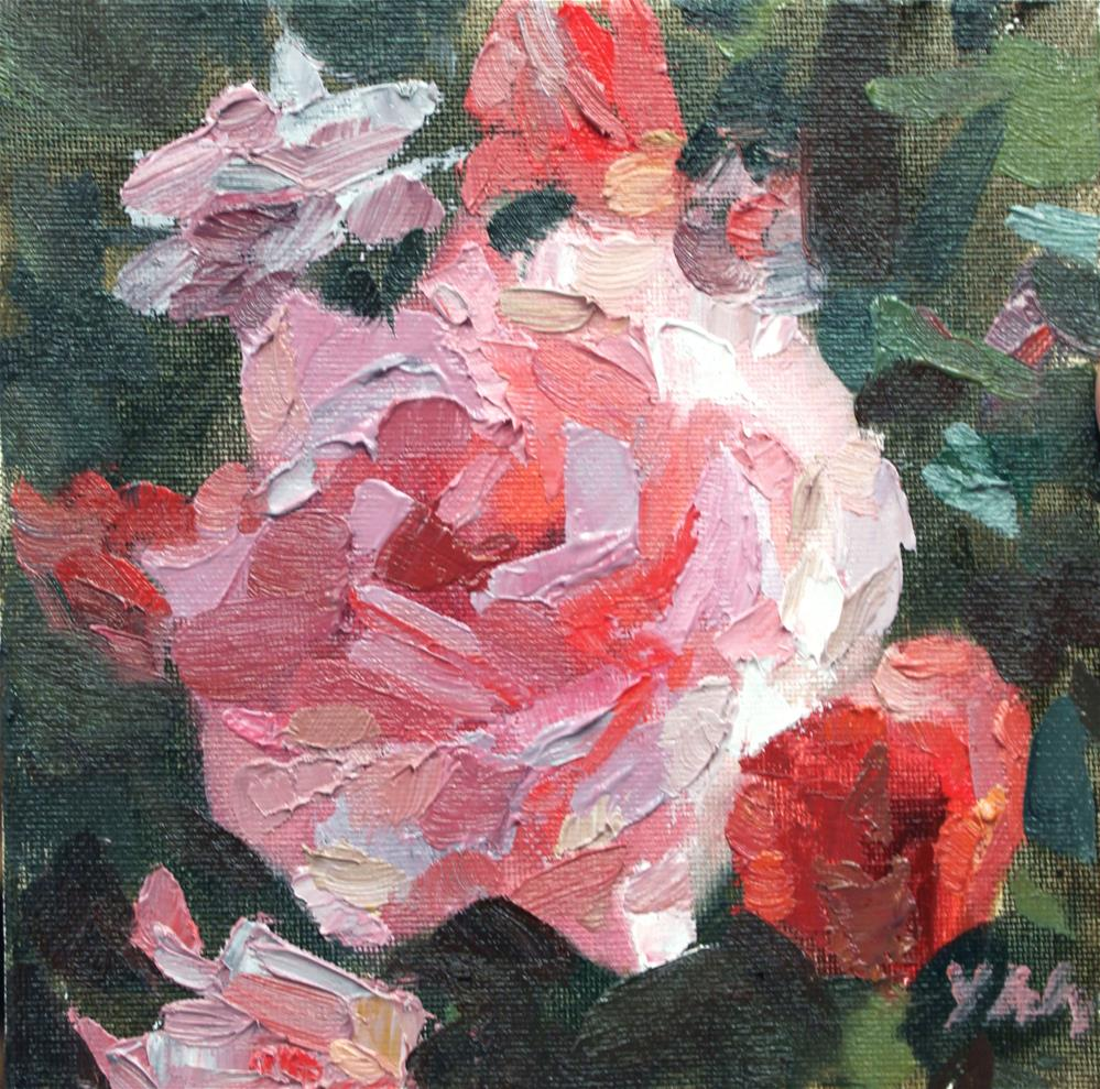 """The Rose Bush Challenge"" original fine art by Yuehua He"