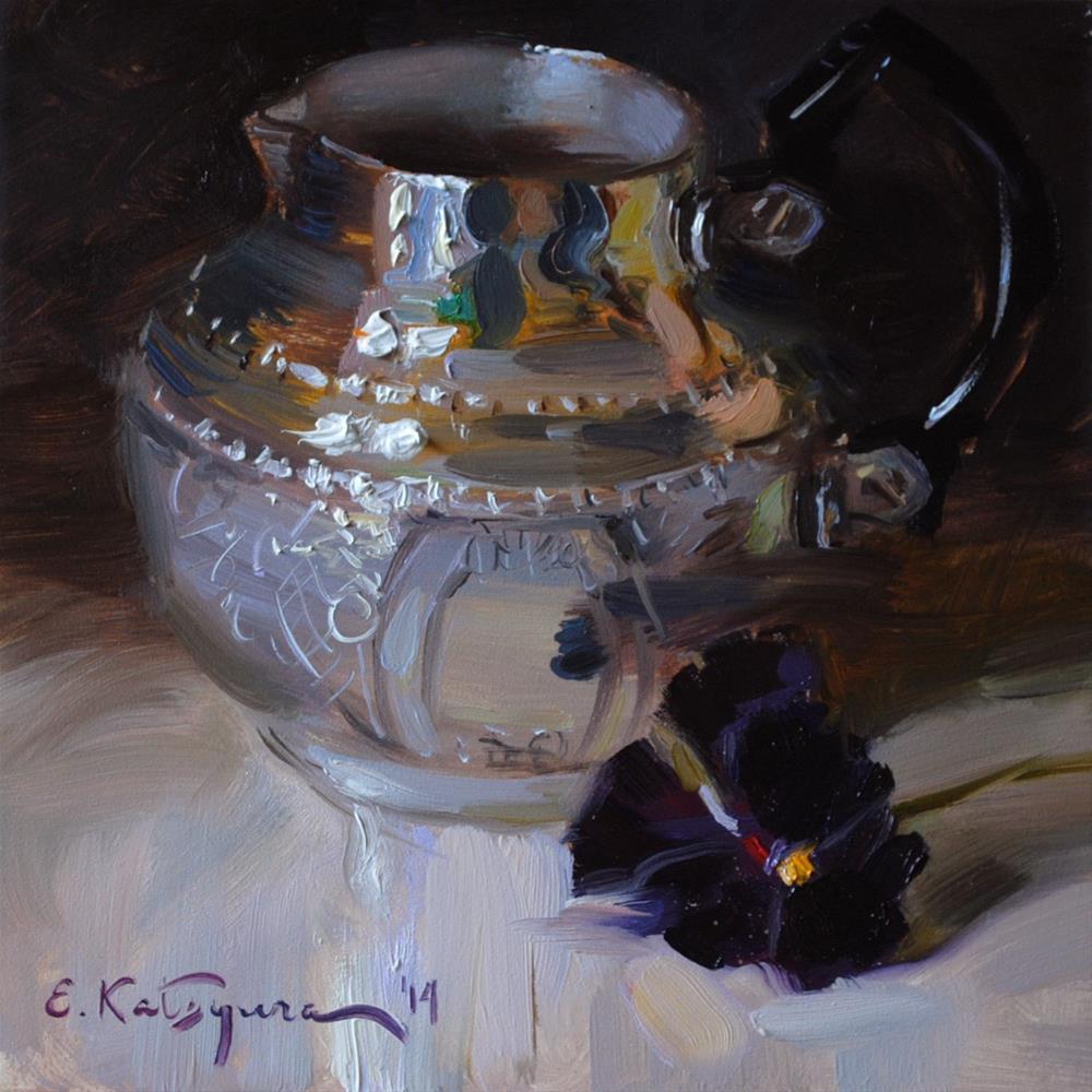"""Silver and Pansy"" original fine art by Elena Katsyura"